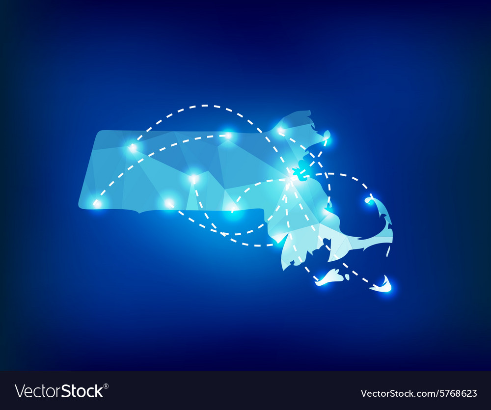 Massachusetts state map polygonal with spot lights vector image