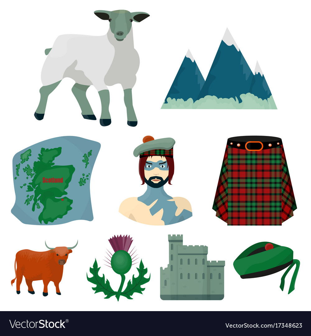 National Symbols Of Scotland Scottish Attractions Vector Image