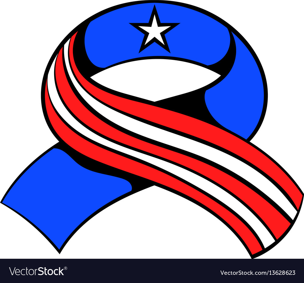 Ribbon in the usa flag colors icon cartoon