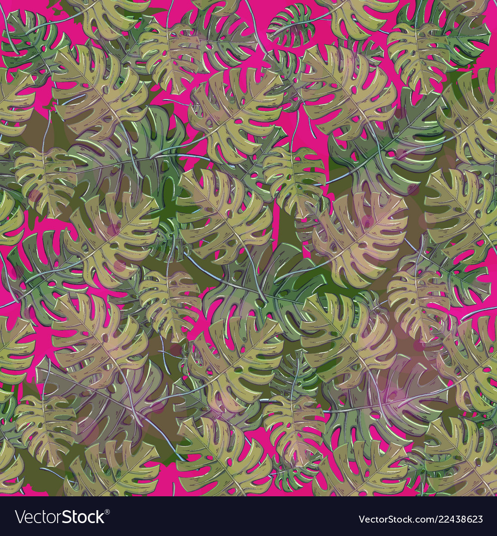 Seamless pattern with monstera plant leaves