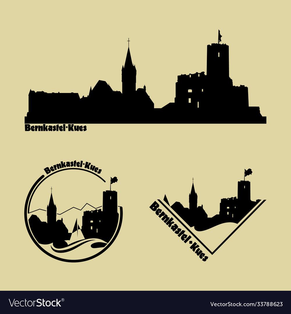 Set silhouette logos city bernkastel