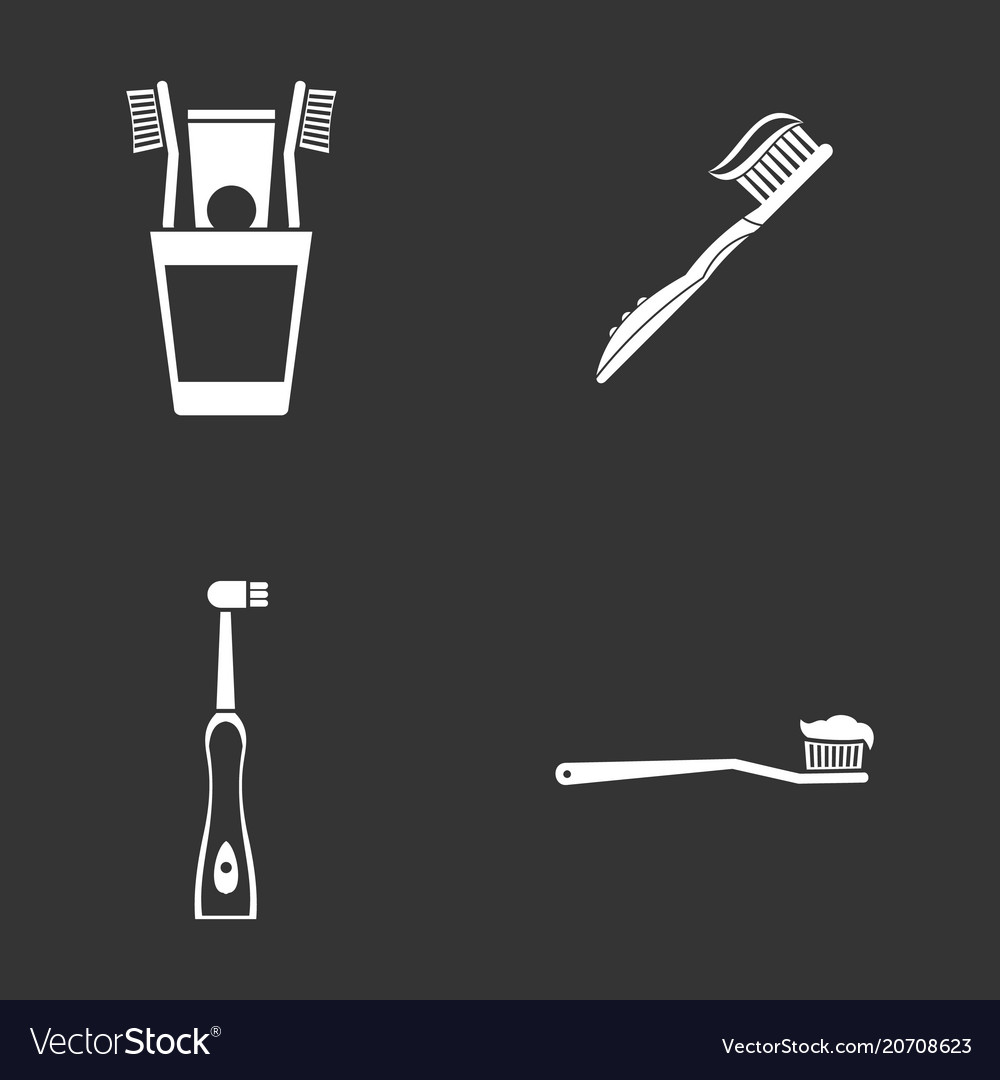 Toothbrush icon set grey