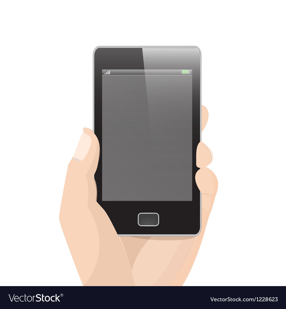 vertical smart phone with hand holding royalty free vector