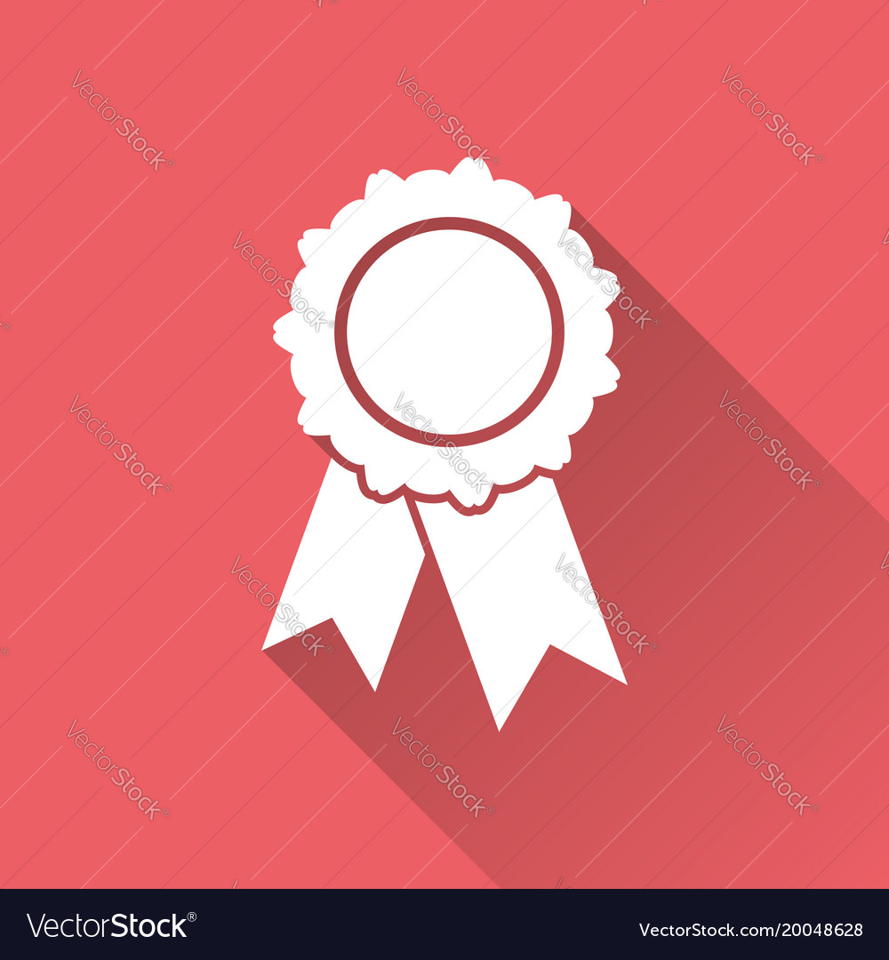 Badge with ribbon icon in flat style on red