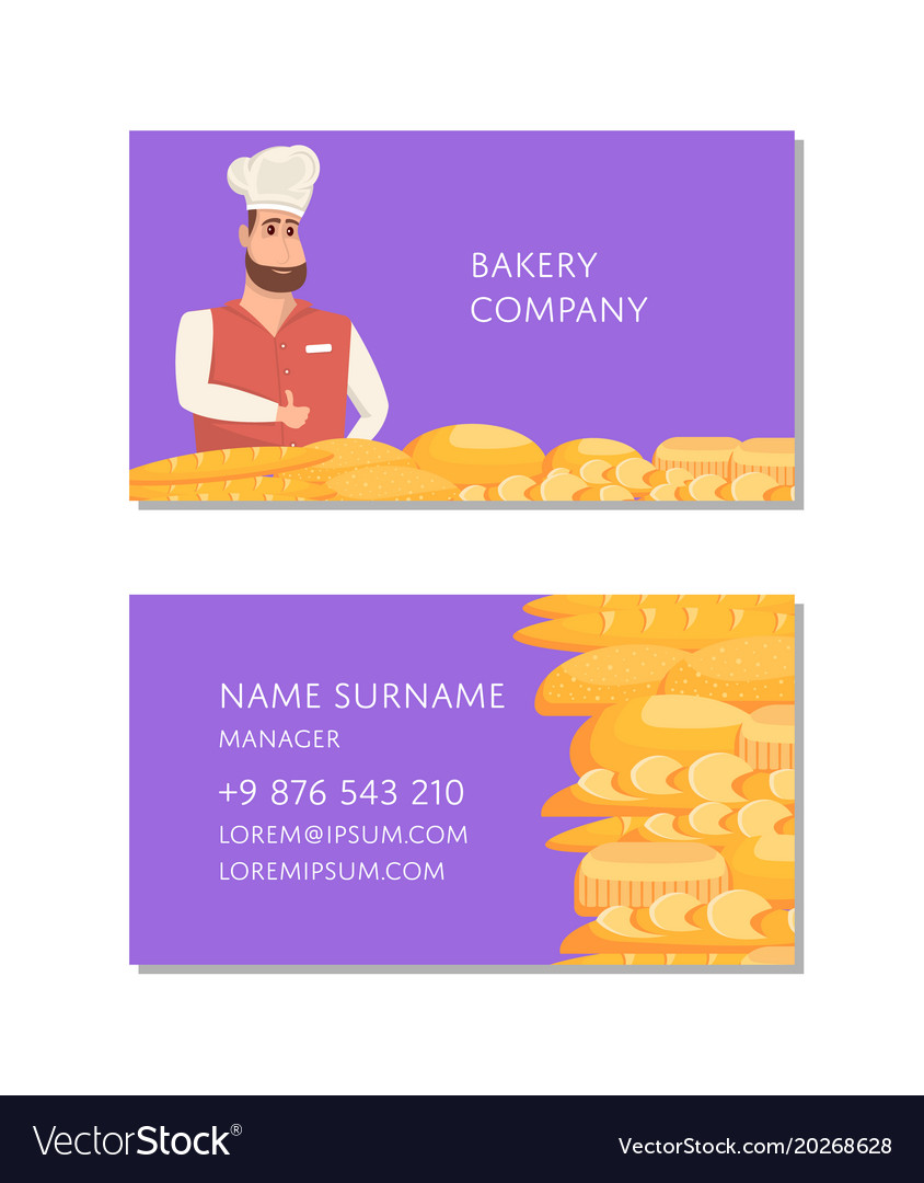 Bakery company business card template royalty free vector bakery company business card template vector image reheart