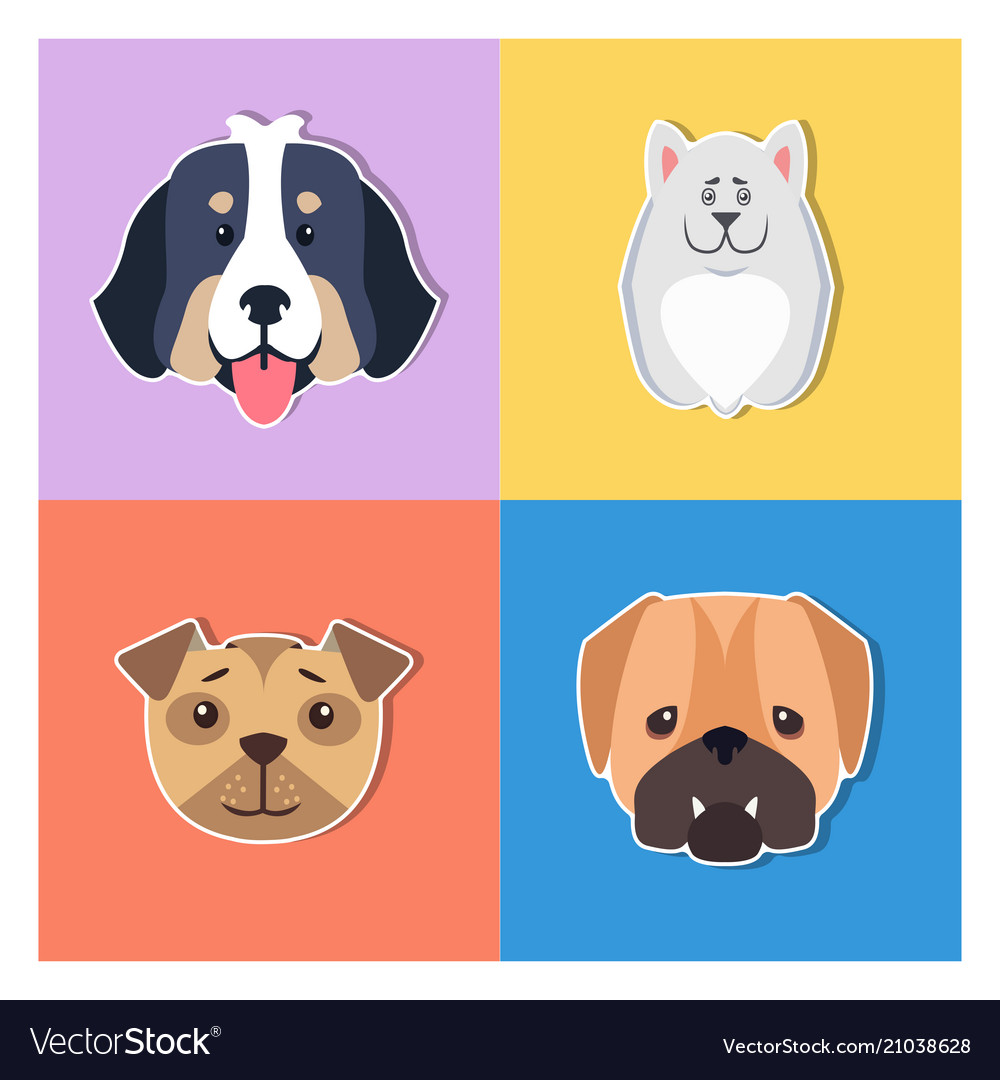 Cute dogs muzzles cartoon flat icons set