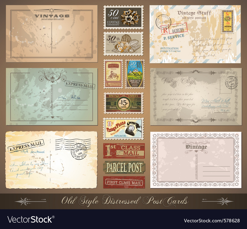 Distressed postcards vector image
