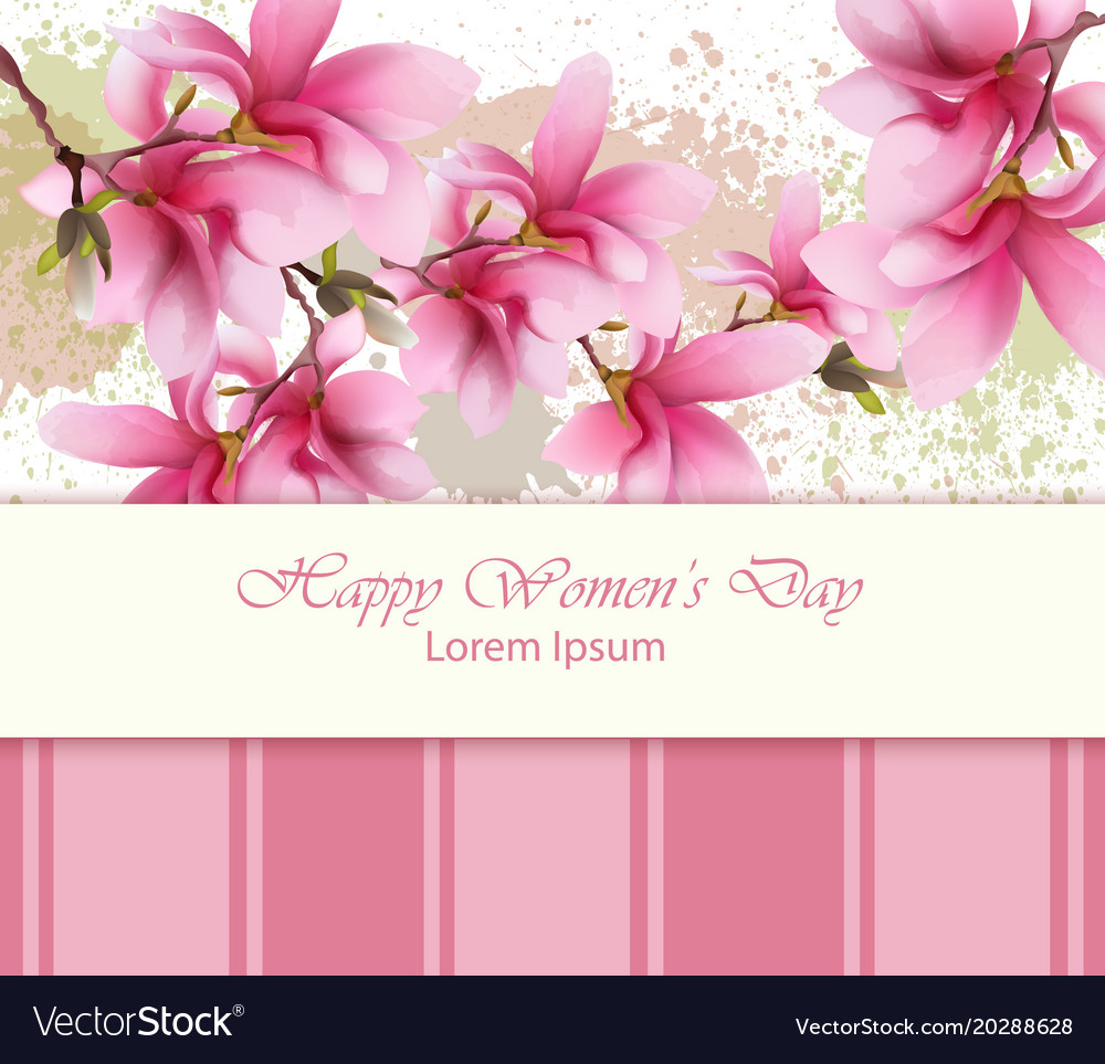 Happy women day flowers card watercolor royalty free vector happy women day flowers card watercolor vector image mightylinksfo