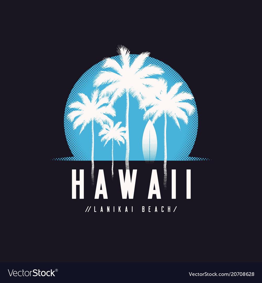 Hawaii lanikai beach tee print with palm trees t