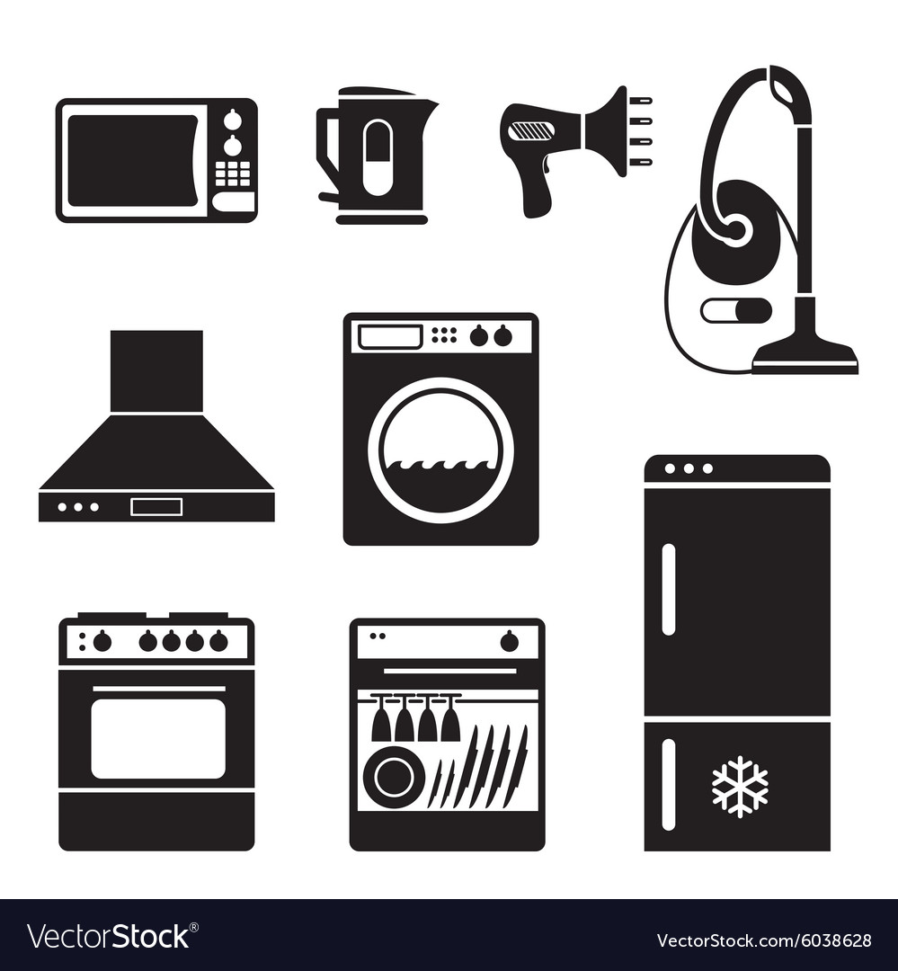 Household icons vs vector image