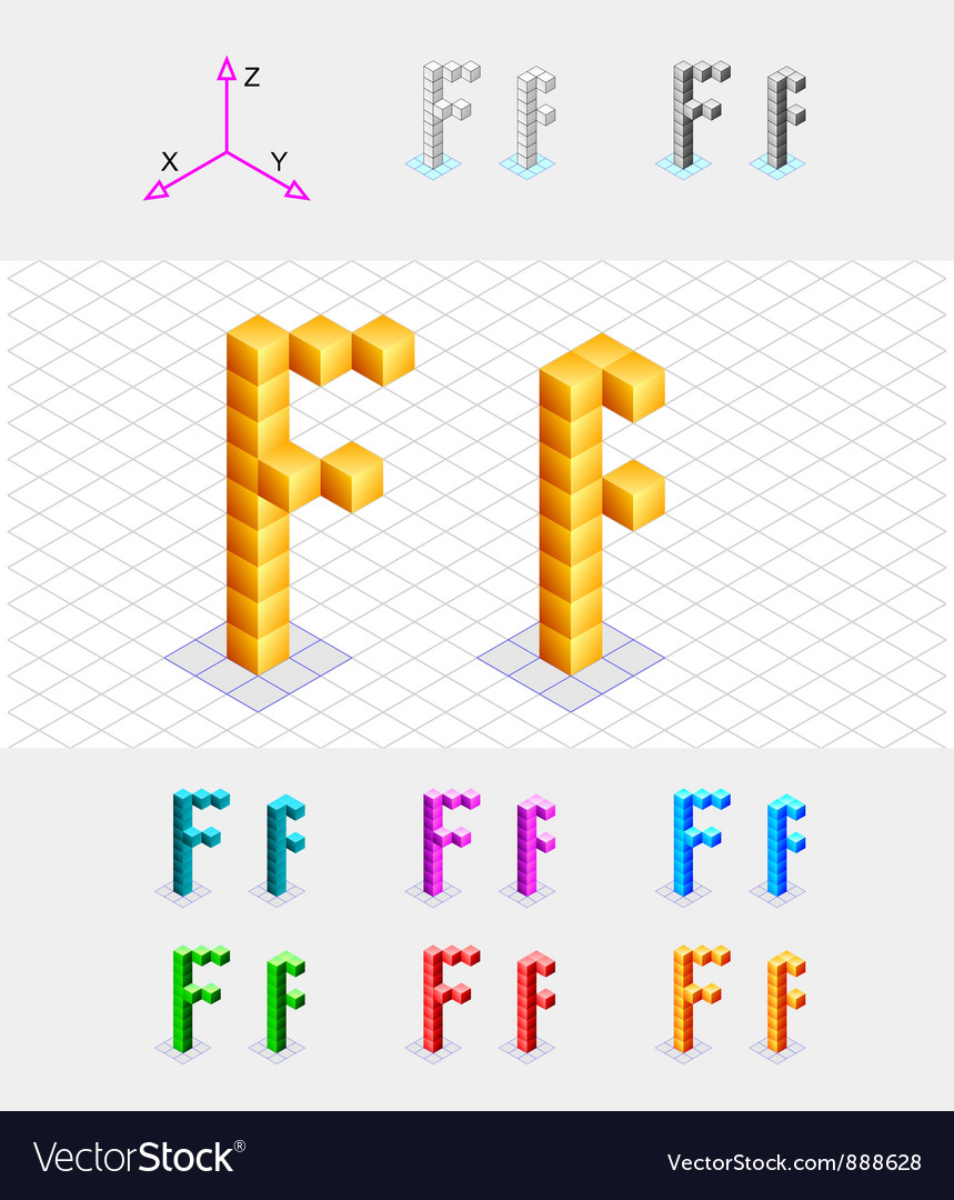 Isometric font from the cubes Letter F