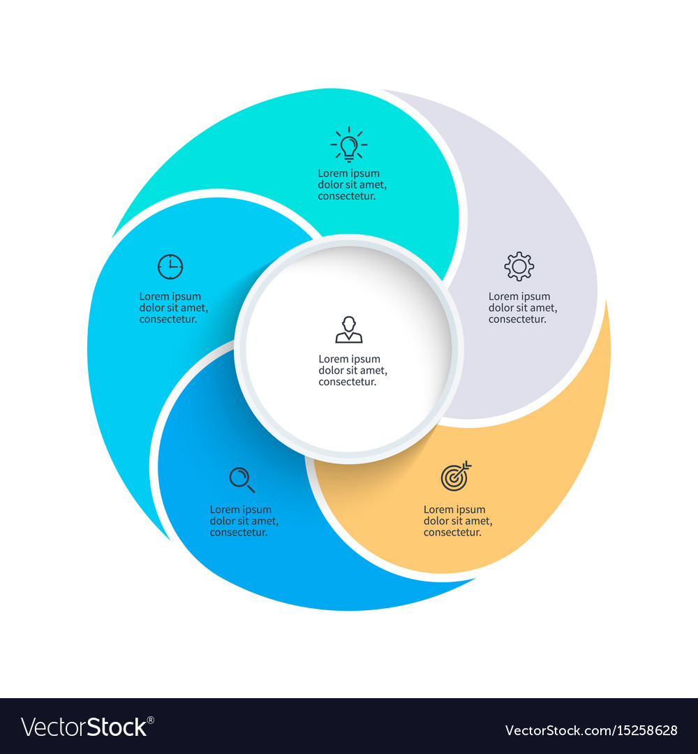 Pie Chart Presentation Template With 5 Royalty Free Vector