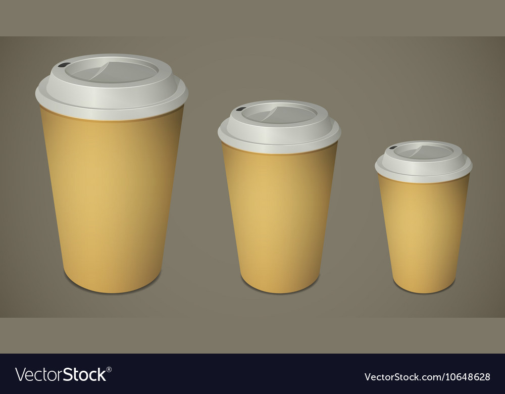 Three take-out coffee cups with caps