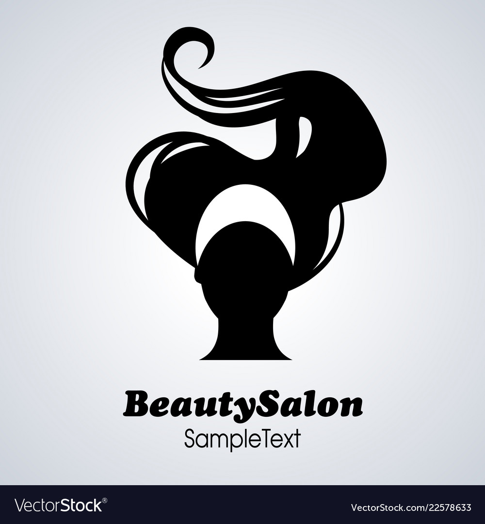 Beauty salon icon silhouette of woman with long