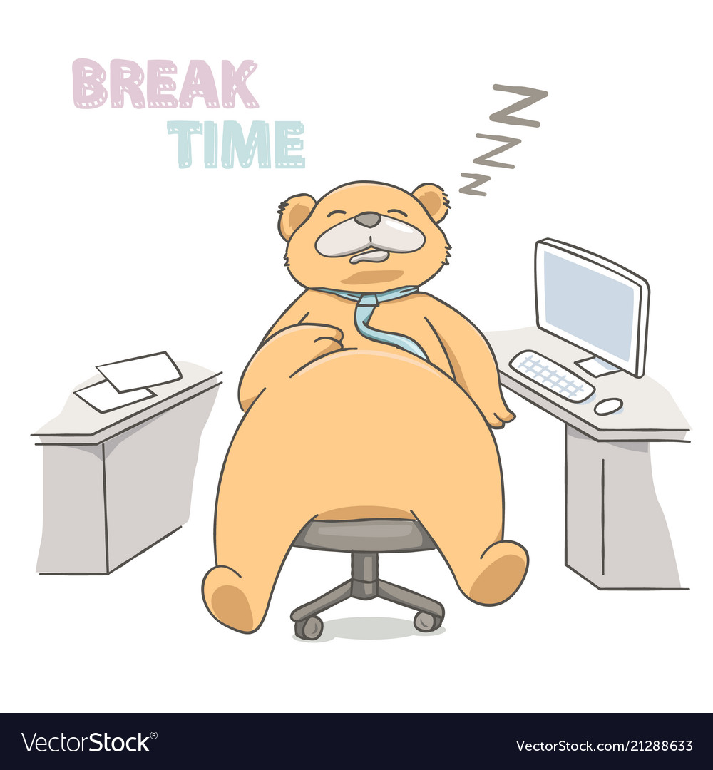 Big bear sleeping on a chair at working place