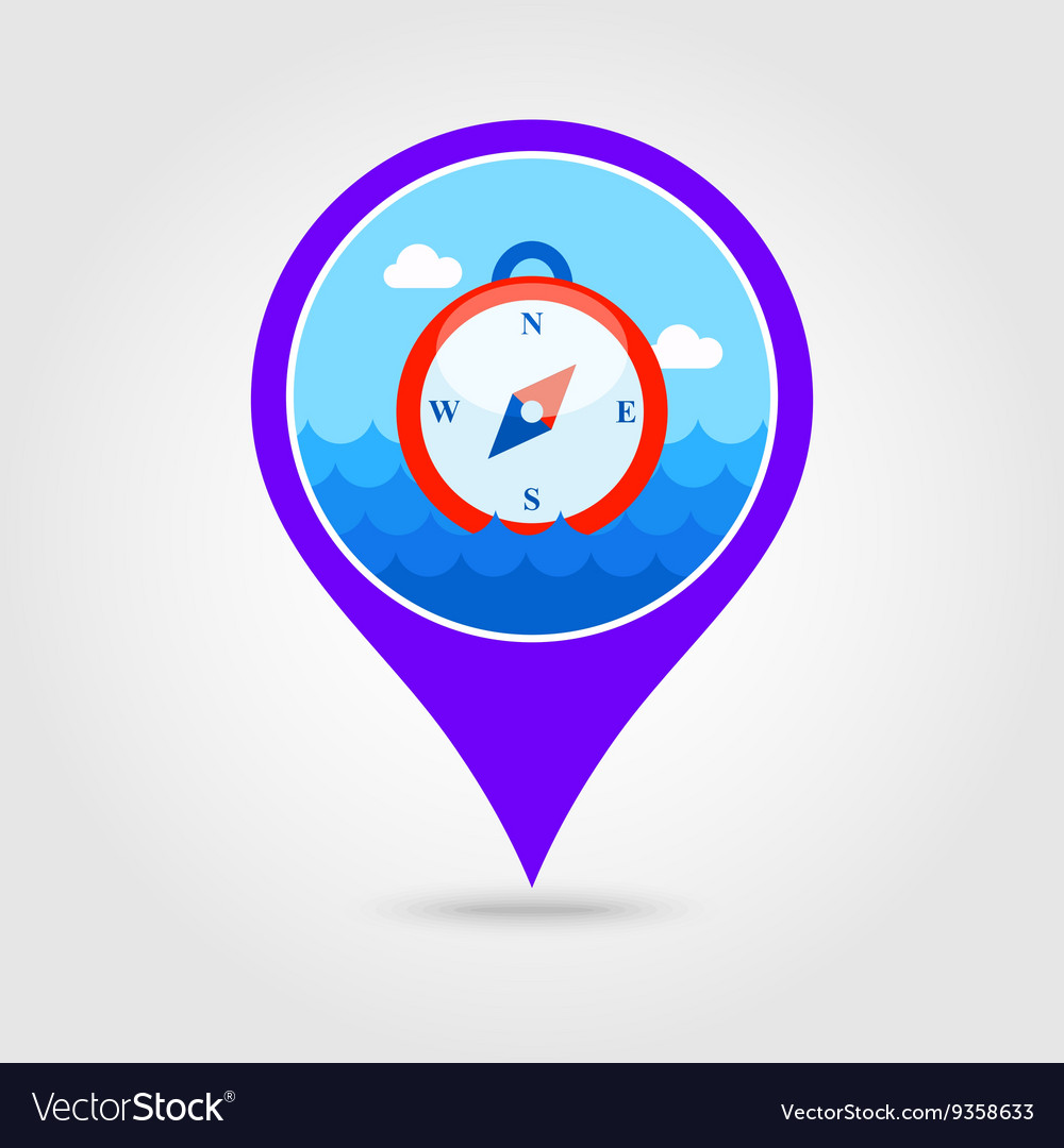 Compass pin map icon Summer vector image