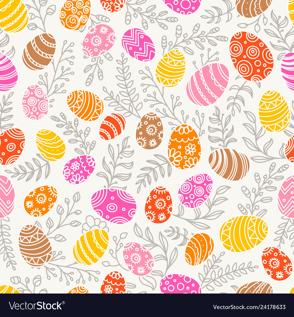 Easter seamless pattern with eggs and spring