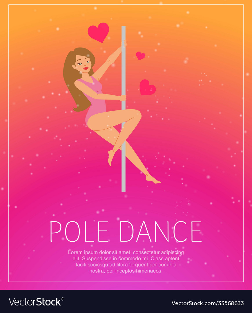 Girl dancing near pole poster background