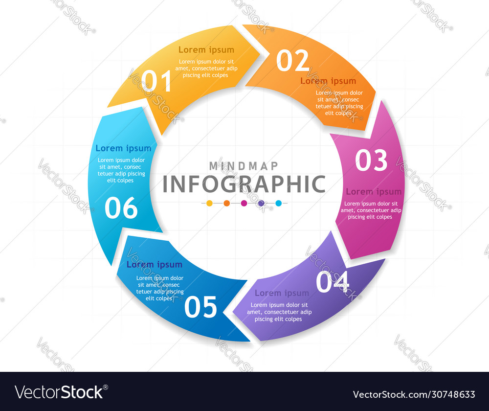Infographic template for business 6 steps modern