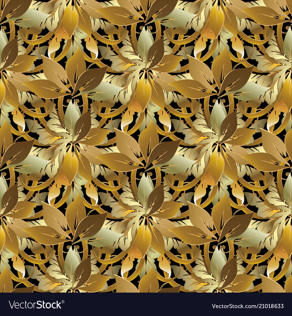 Leafy gold baroque style floral 3d seamless