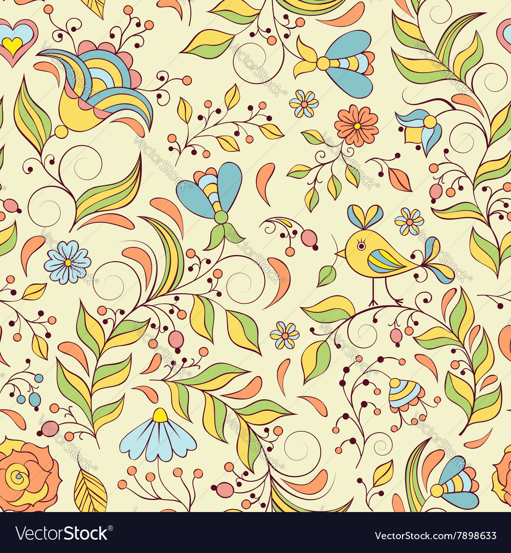 Pattern with abstract flowers and bird