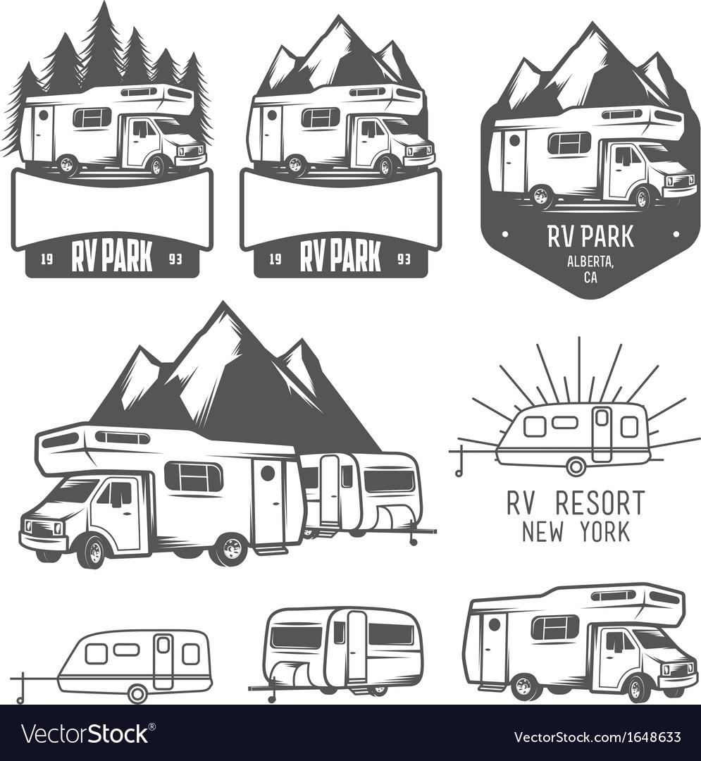 RV and caravan park badges and design elements