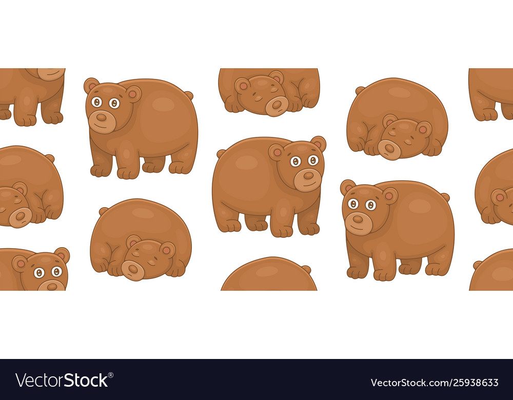 Seamless pattern with brown bears