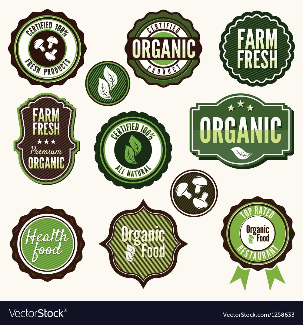 Set of organic and farm fresh food labels