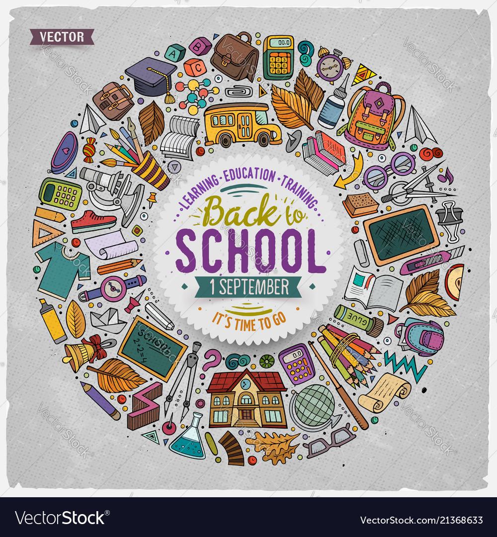 Set of school cartoon doodle objects symbols and