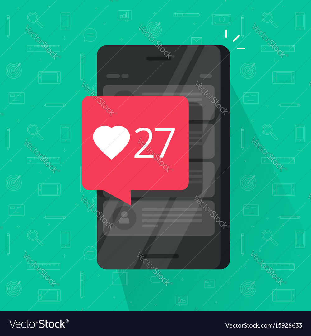 Smartphone with likes counter bubble vector image