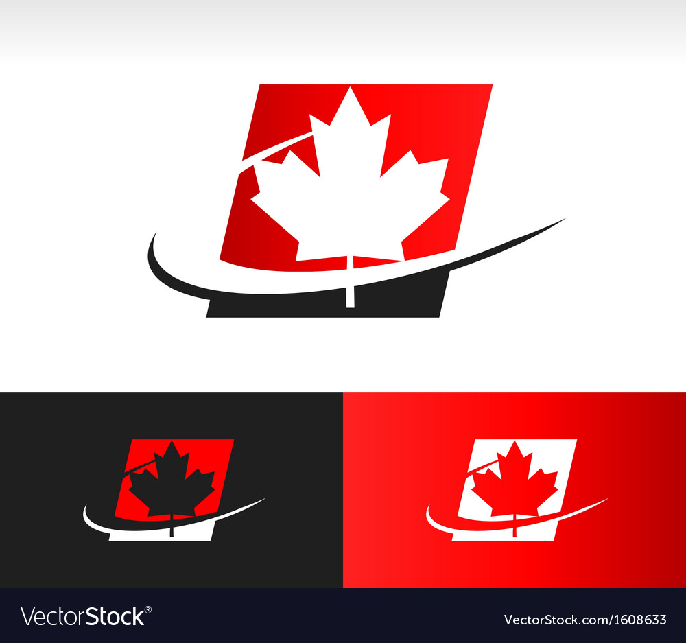 Swoosh Canada Maple Leaf Logo Icon