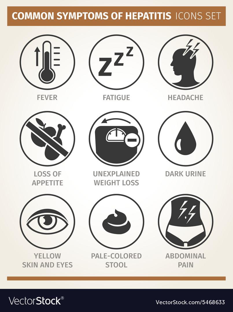 Symptoms of hepatitis icon set