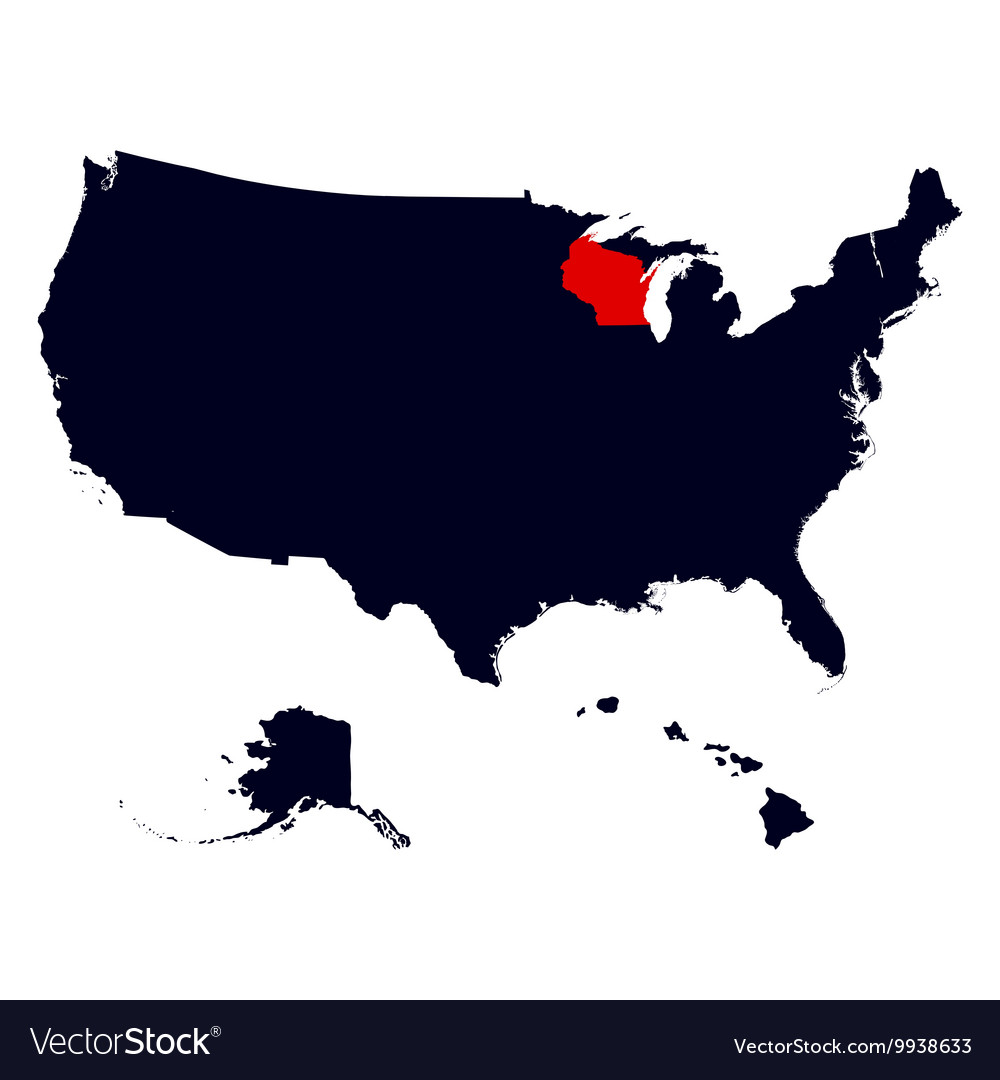 Wisconsin State in the United States map vector image