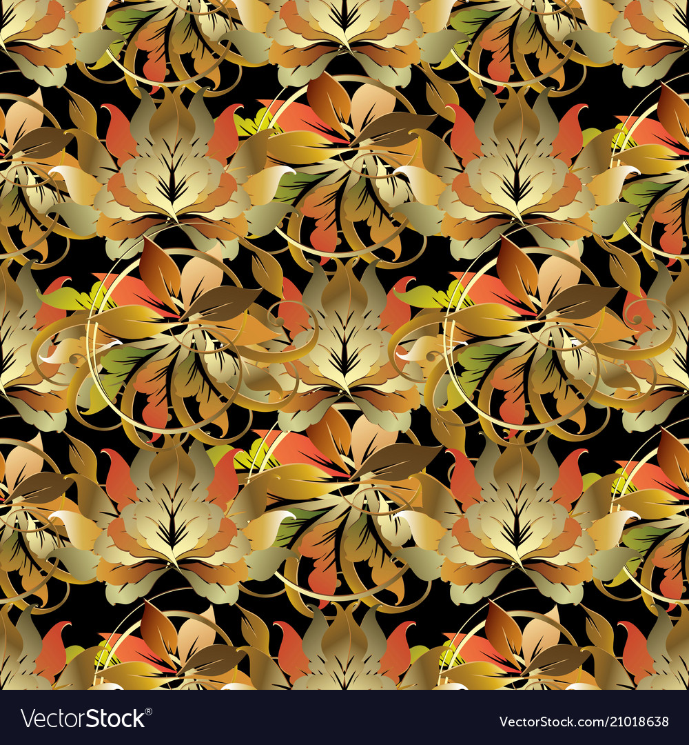 Baroque style leafy 3d seamless pattern
