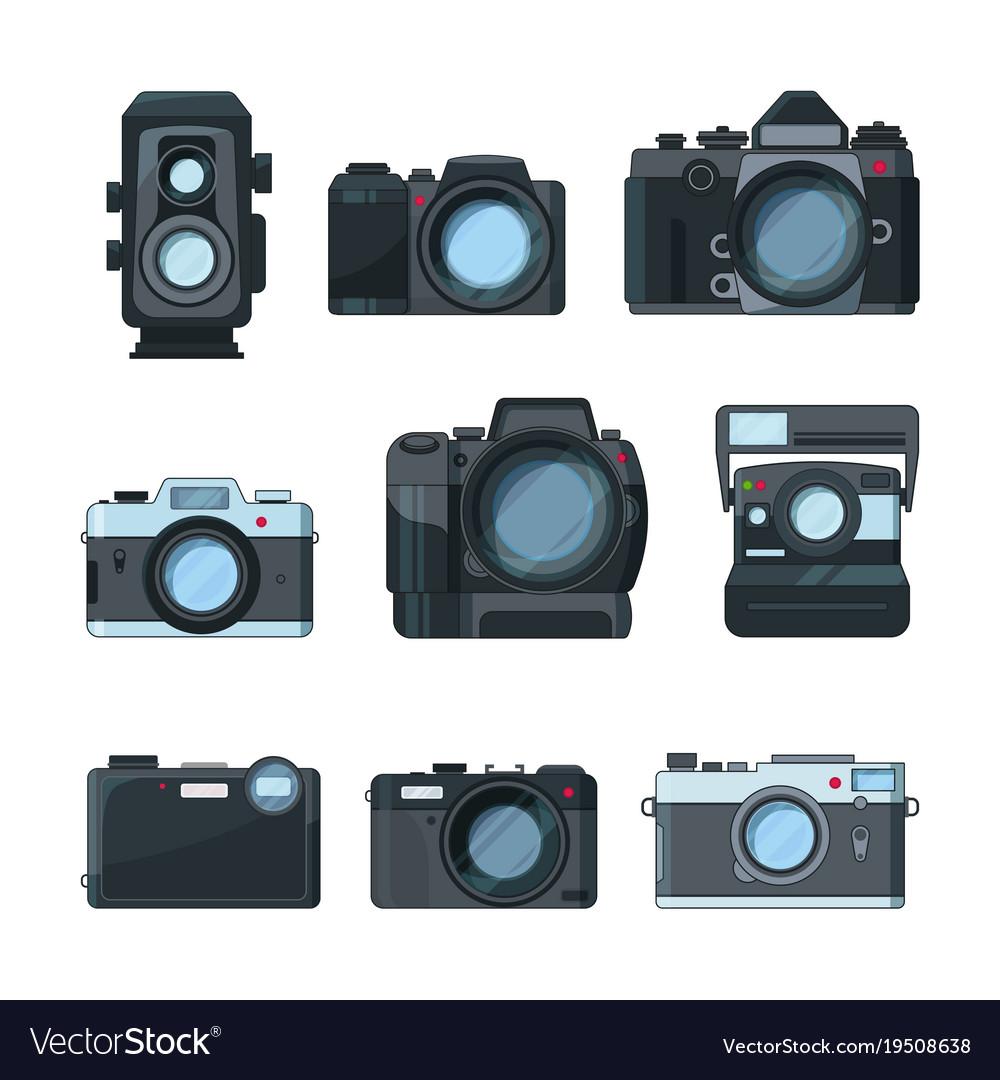 Dslr photo cameras set in cartoon style