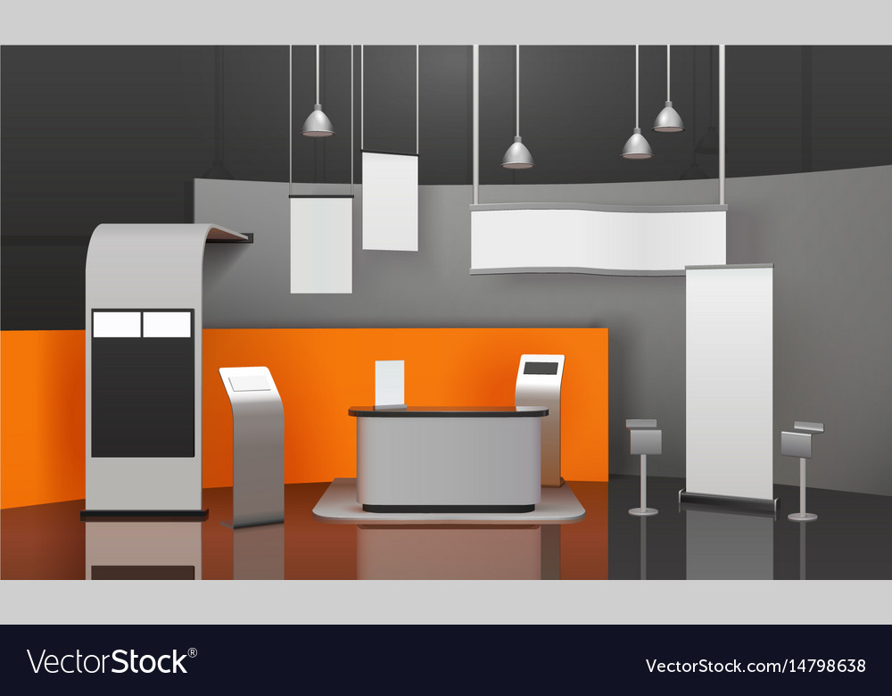 Exhibition Stand Free Vector : Exhibition booth 3d composition royalty free vector image