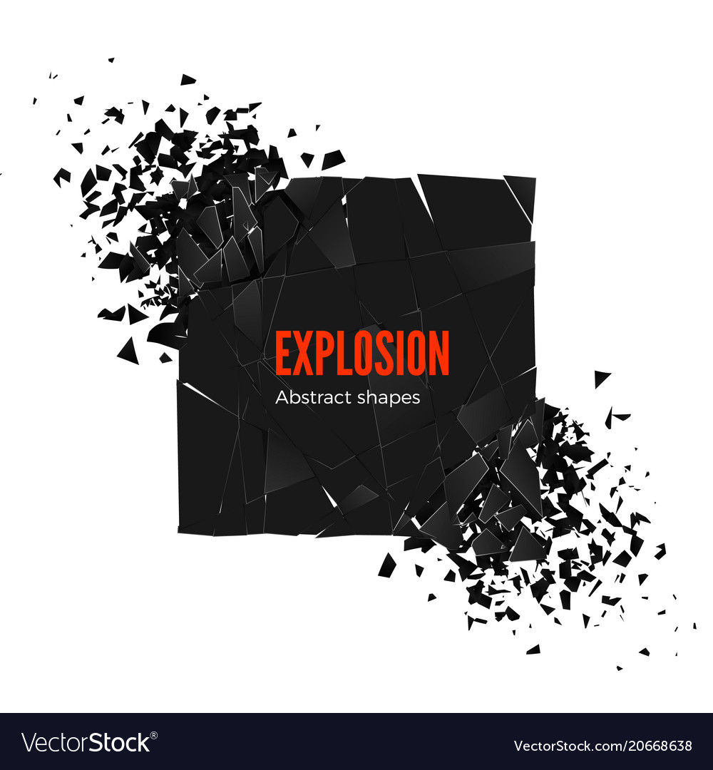 Explosion and fragmentation black square isolated