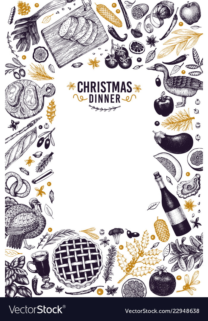 Happy christmas dinner design template