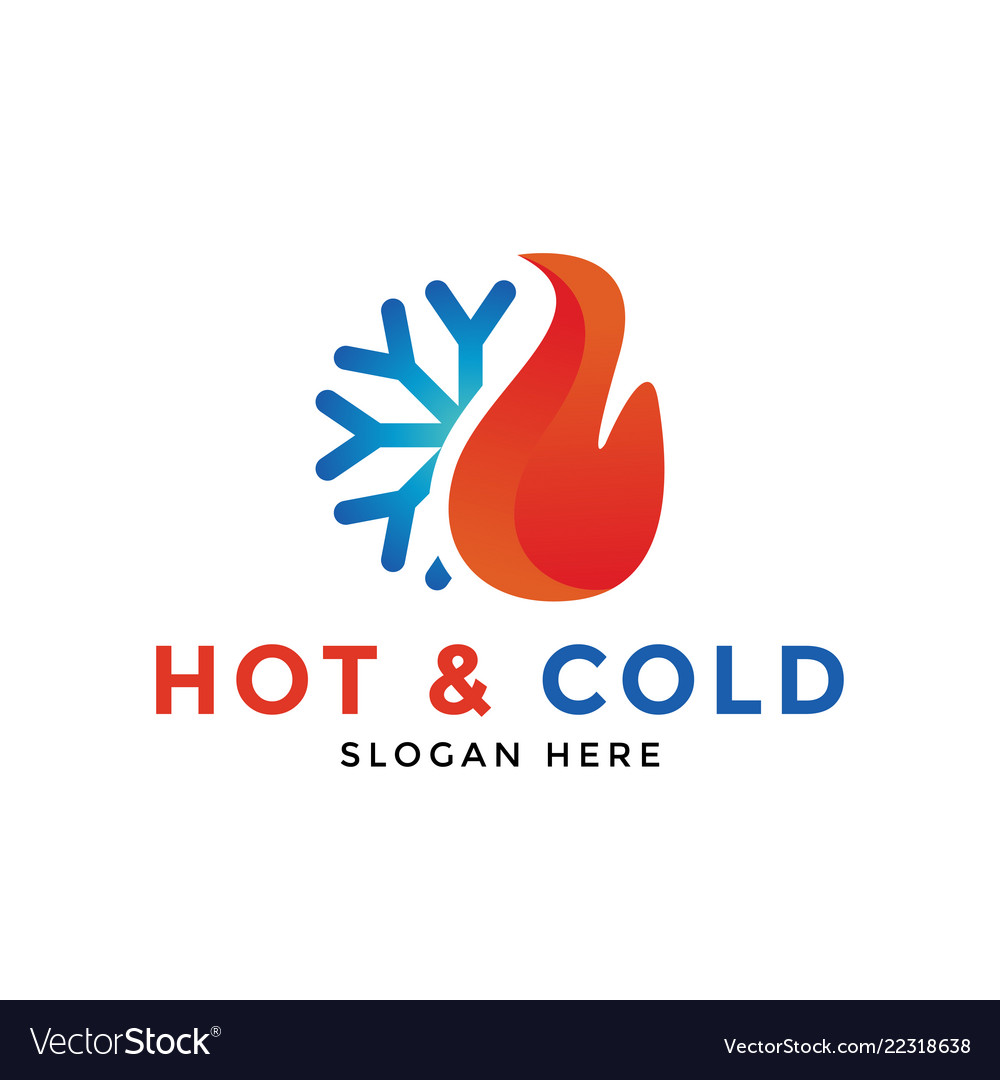 Hot and cold logo icon design template