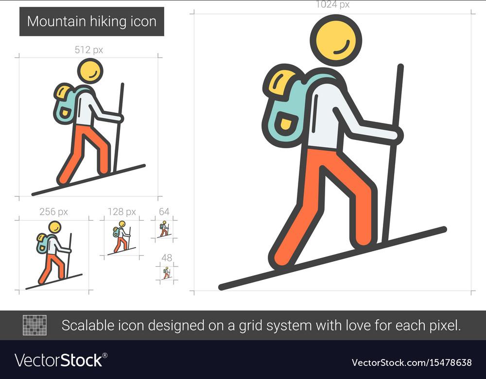Mountain hiking line icon