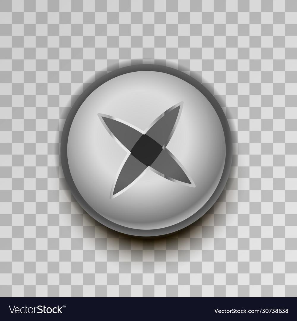 Realistic metal cross screw on transparent