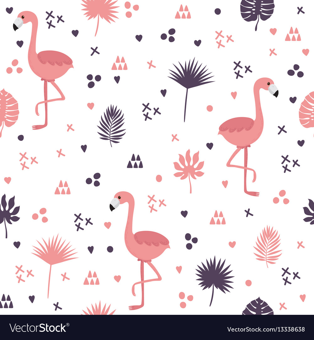 Seamless pattern with flamingos and leaves cute