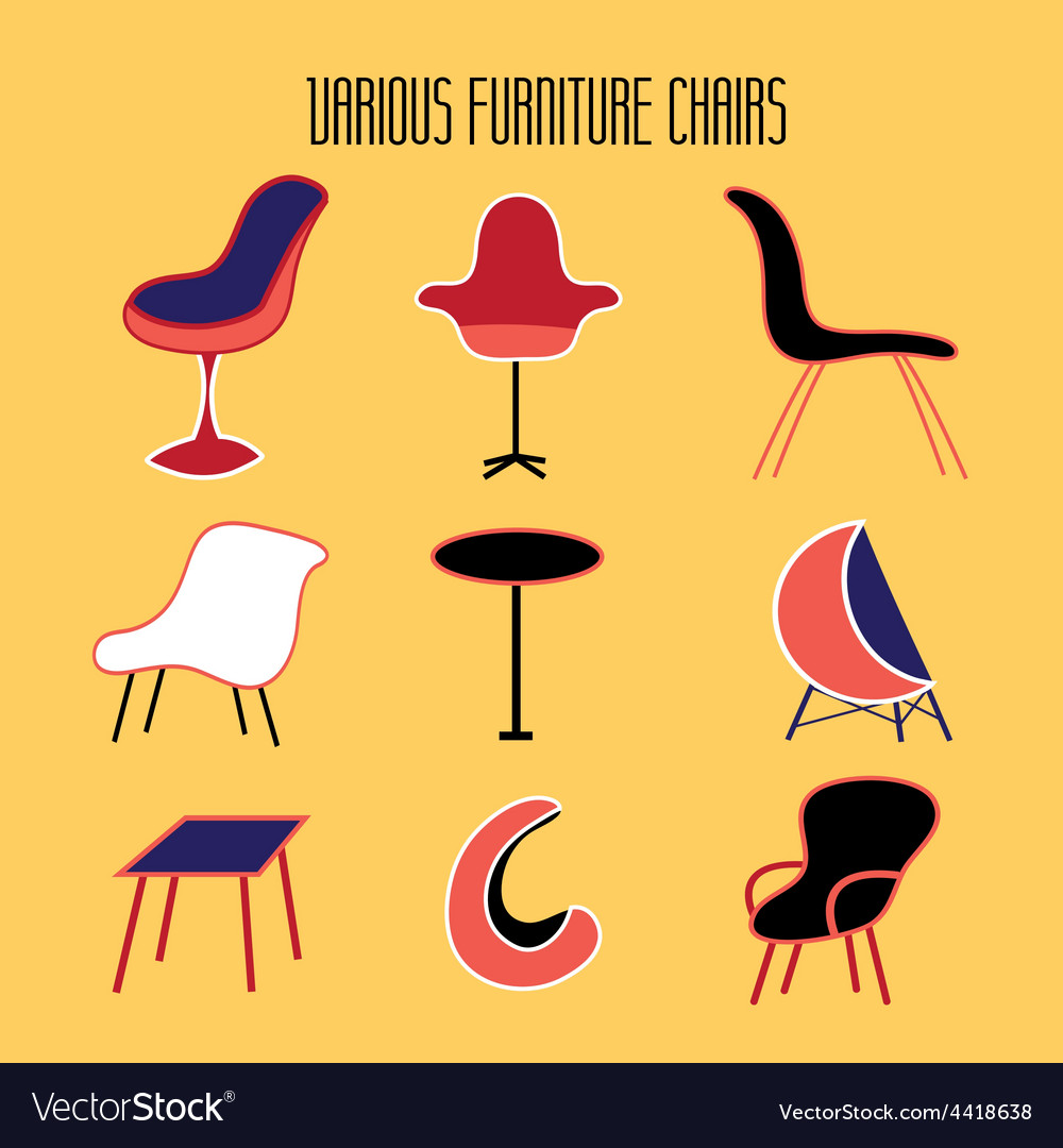 Set of furniture different seat vector image
