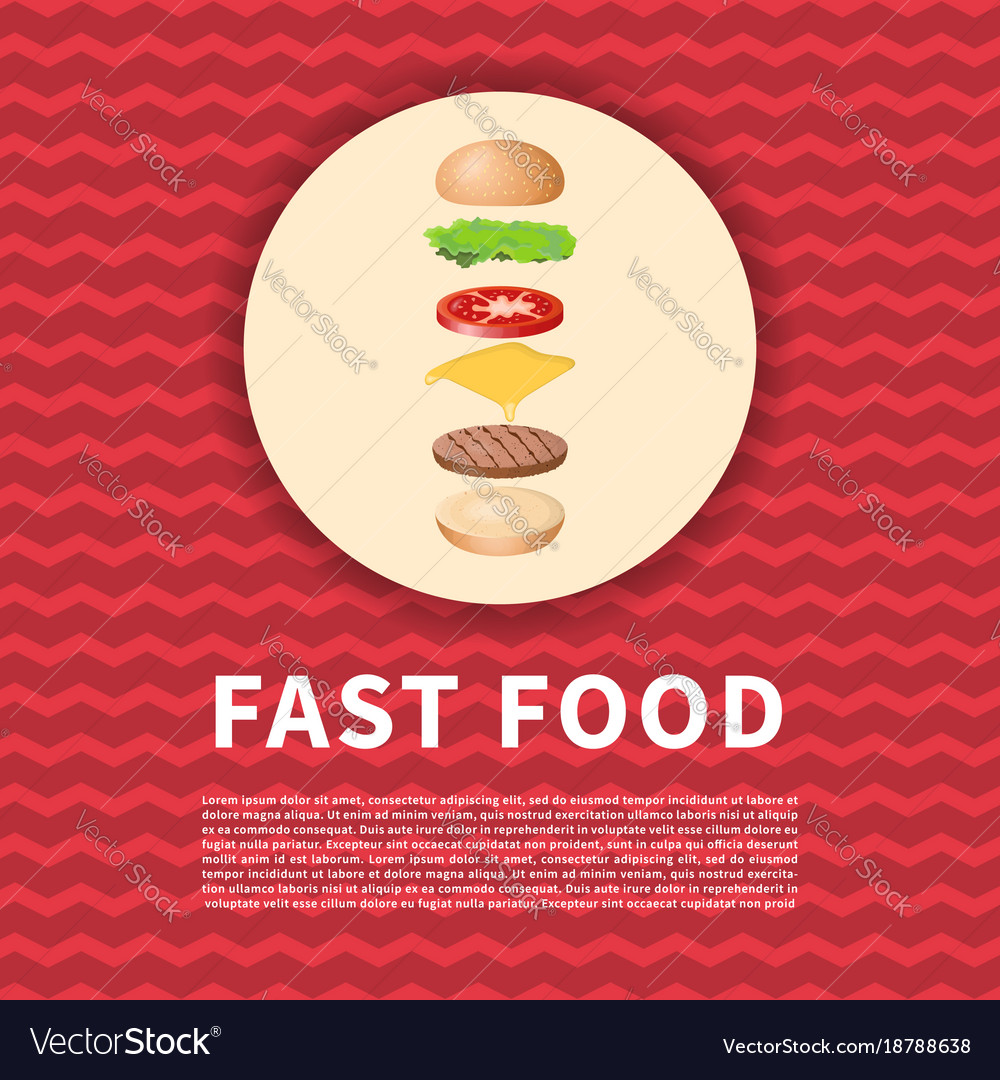 The ingredients of the burger on red poster cute