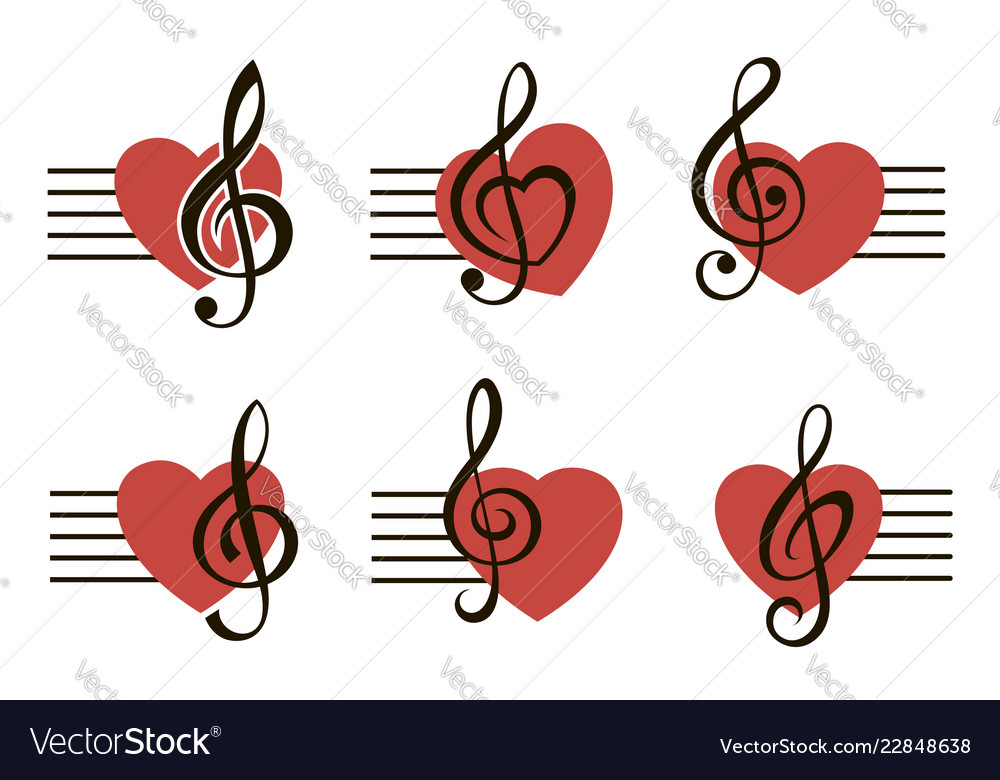 Graphics /& More Treble Clef Note Sound-Heart Music Red White