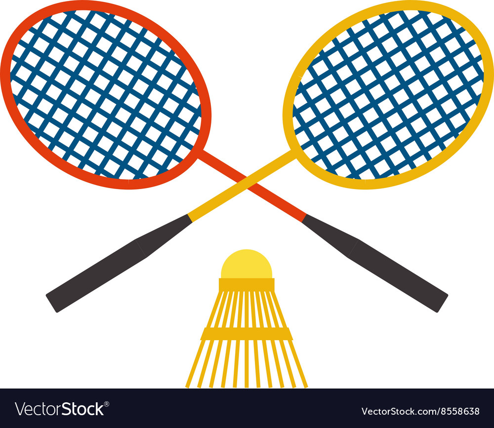Two badminton racket and shuttlecock sport game vector image