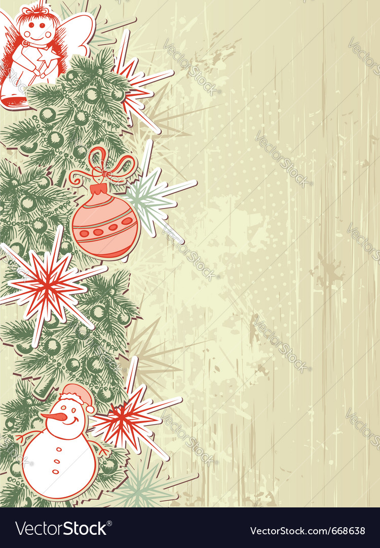 vintage christmas background with christmas tree vector image