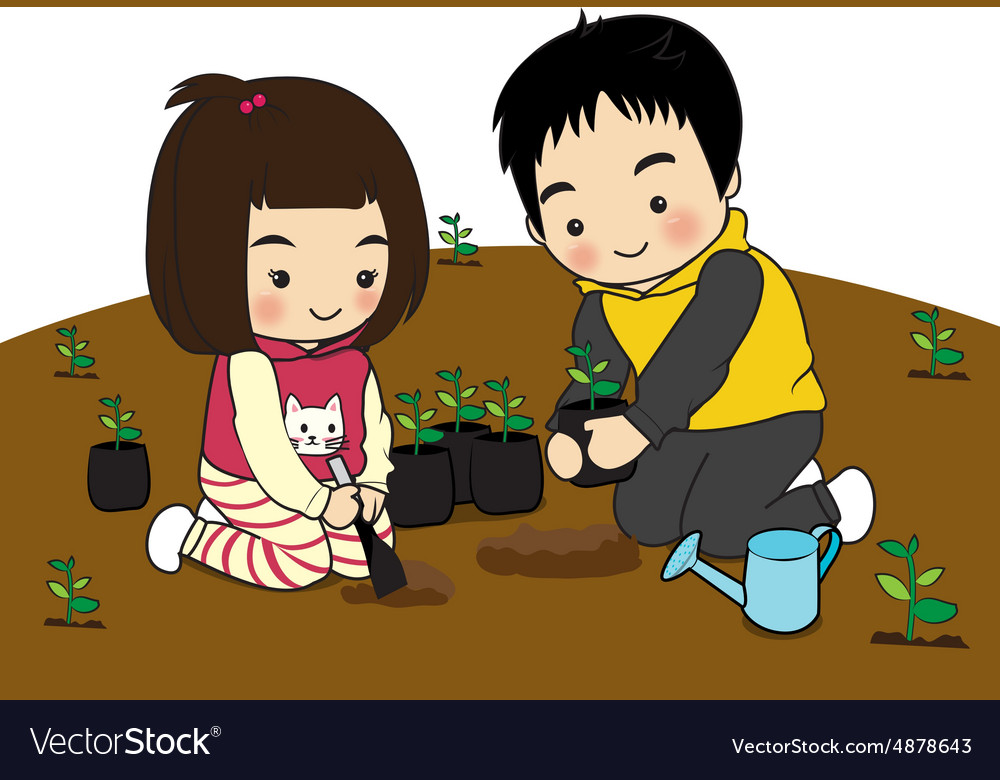 Boy and girl planting clipart