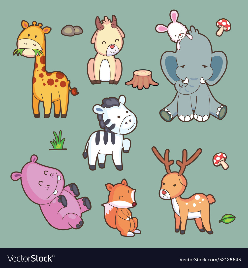 Cartoon characters cartoon cute set big set of