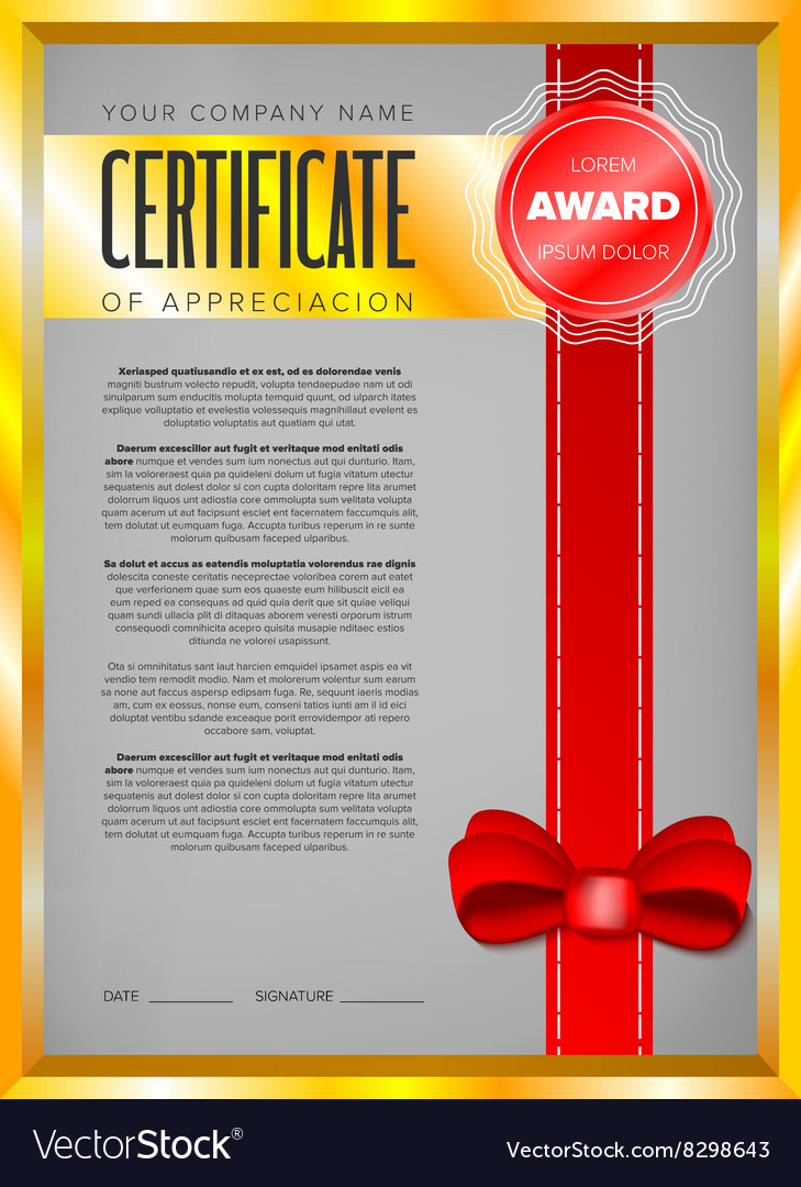 Certificate design in golden frame